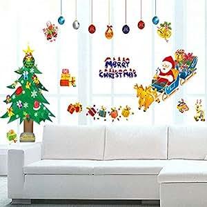 私の家族 メリー クリスマス リムーバブル壁ウィンドウ ステッカー クリスマス祭パーティーの装飾