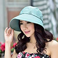 Chuiqingwang Zhuo Duo帽子女性の夏の太陽の帽子太陽の帽子空のシルクハットアンチUVキャップ太陽の帽子ビッグビーチの帽子 (Color : Lake Blue)