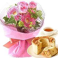 誕生日プレゼント ミニブーケ シフォンケーキセット (ピンク)
