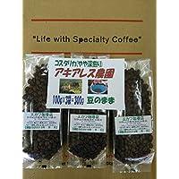 自家焙煎コーヒー豆【コスタリカ】アキアレス農園のやや深煎、100g×3袋=300g(豆のまま)/ネコポス便発送