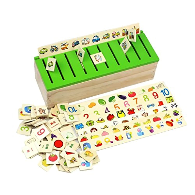 SONONIA 約80個入り 木製 ソートボックス  はめこみ 図形 動物 知育玩具 創造力 ギフト