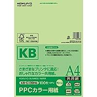 コクヨ コピー用紙 PPCカラー用紙 共用紙 FSC認証 100枚 A4 緑 KB-C139NG