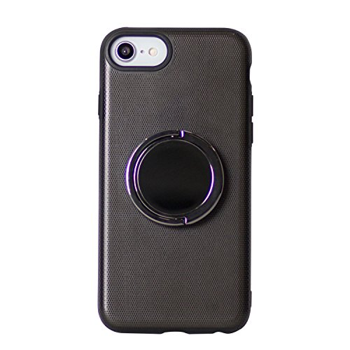 BEGALO iPhone8/7 ハンドスピナー 指スピナー バンカーリング付 ケース 落下防止 360度回転 スタンド ストレス解消 ブラック HDSP-IP8-BLK119
