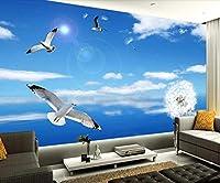 QUDMST 3Dリビングルームテレビソファ背景壁画壁紙カスタム壁紙シンプルな紺Skyスカイタンポポシーガルテレビの背景壁家の装飾3Dリビングの背景-120X100cm