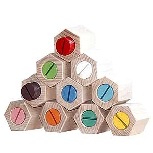 自然に触れて遊ぶ グッドトイ選定商品 銀河工房 木のおもちゃ 六角ひねり積木