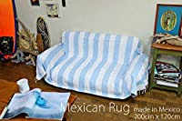 RUG&PIECE Native Mexican Rug ボーダー柄 メキシカンラグ 200cm×120cm (rug-6451)