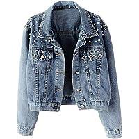 Kedera Women Oversized Denim Jacket Pearls Beading Jeans Coat 2XL