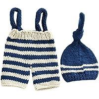 Zhhlaixing ベビー服 Newborn Baby Boys Crochet Knit Costume Clothes Photo Photography Prop Hat Pants Set