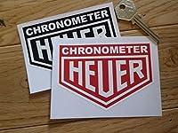 Chronograph Heuer Stopwatch Stickers Pair タグホイヤー クロノグラフ ステッカー シール デカール レッド&ホワイト 100mm x 70mm 2枚セット [並行輸入品]
