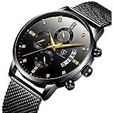 腕時計、メンズ腕時計、クラシックなビジネスブラックステンレススチールカジュアル豪華なクォーツ腕時計、防水マルチ機能ミラノストラップ時計 (ブラック)