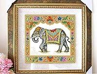 southasia Elephant counted cross stitch kits ,南アジア象刺しゅうキット エジプト綿 14ct 38x38cm 150x150針 刺しゅうキット,クロスステッチ キット