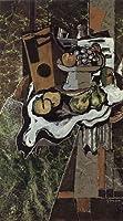 ブラック・「緑色の大理石テーブルの上の静物」 プリキャンバス複製画・ 【ポスター仕上げ】(8号相当サイズ)