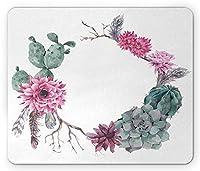 多肉植物のマウスパッドによって、夏ヴィンテージフローラルリース自由奔放に生きるシックなスタイルの枝の羽、標準サイズの長方形滑り止めラバーマウスパッド、セージグリーンライトピンクモーブ