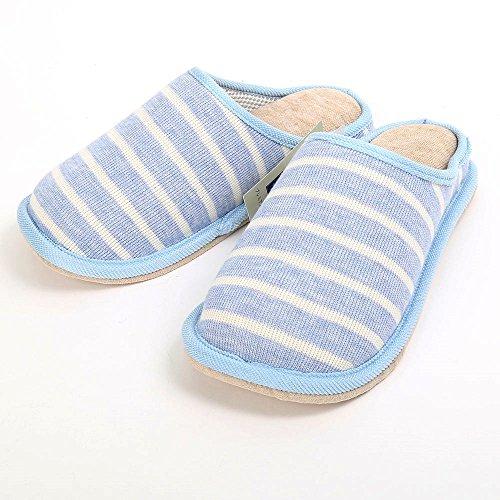 【全4種類】 日本製 レディース 高反発 ボーダー 外縫 ルーム シューズ 室内履き スリッパ スエード 底 立体ラスト(靴型) (ブルー)