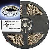Smile Panda プロ仕様 強力粘着両面テープ 12V LEDテープ SMD 3528 600個(5m) 白 ホワイト 白ベース 正面発光 ハンダ付不要 両端配線済 防水 IP65 切断可能