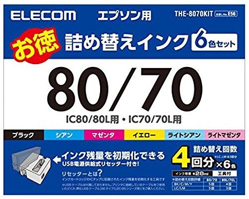 エレコム 詰め替えインク エプソン IC6CL70 IC6CL80対応 6色パック 4回分 THE-8070KIT