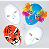 White Plastic Face Masks for Children to Paint & Decorate and use for Fancy Dress (Pack of 6)