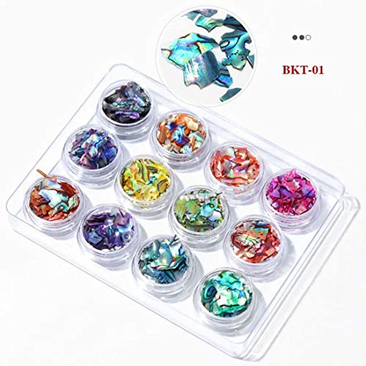 シーサイドシーサイドスチュワードTianmey 3Dネイルアートクラッシュシェル貝殻セットDIYオーシャンピーススパンコールネイルマニキュアインテリアチャームアクセサリーアクセサリーサプライ (Color : 01)