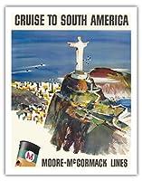 南米へのクルーズ - ムーア・マコーマックライン - コルコバードのキリスト像 - 山コルコバード、リオ、ブラジル - ビンテージな遠洋定期船のポスター によって作成された ドン・キングマン c.1960s - アートポスター - 28cm x 36cm