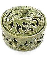 唐草模様の陶器の香炉 小物入れ グリーン インセンスホルダー お香立て アジアン雑貨 並行輸入品(ノーブランド品) [並行輸入品]