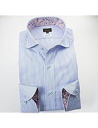 (スタイルワークス) メンズ長袖ワイシャツ カッタウェイ ワイドカラー ストライプ | 青