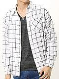 (アーケード) ARCADE 秋 無地 チェック ネルシャツ メンズ 選べる 無地 チェックシャツ ネルチェックシャツ M ホワイト×ネイビー(10)