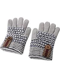 手袋 ニット Caseeto 子供 5本指手袋 グローブ 4-7歳子供に適用 ボーイズ 鈕飾り 暖かく グローブ 通園 通学 用