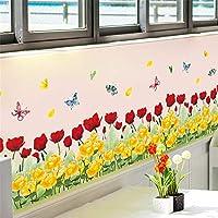 Wsqyf 水彩黄色赤いバラ蝶幅木Pvc壁ステッカー幅木リビングルーム寝室キッチン幼稚園バルコニー家の装飾