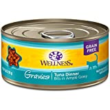 Wellness Complete Health Natural Grain Free Wet Canned Cat Food, Gravies Tuna Dinner, 5.5-Ounce Can (Pack Of 12)