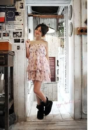 10●可愛い レディースワンピース 小花柄 ミニスカート ピンク  JP-GZ11030902