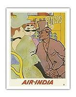 パリ、フランス - 「ムーランルージュのイギリス人」にインド航空のマハラジャが紛れ込む - ロートレックさん、ごめんなさい - エアインディアインターナショナル - ビンテージな航空会社のポスター c.1966 - アートポスター - 28cm x 36cm