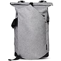 Cai 15.4 '' Business Laptop Backpack Anti-Theft Rolltop Bag Multifunctional Satchel Bag Water Resistant Computer Rucksack School Working Travel Commuting Bag for Men Women 5196 Light Grey [並行輸入品]