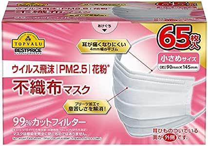 ウイルス飛沫 PM2.5 花粉 不織布マスク 小さめサイズ 65枚入