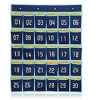loghot 30-pocket Numbered教室ポケットチャート携帯電話用のホルダー壁ドアHanging Organizerフック付き(ダークブルー)