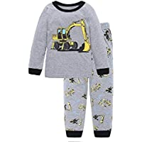 Hooyi Baby Boy's Sleepwear Cotton Excavator Truck Pajamas Set 6Year Grey