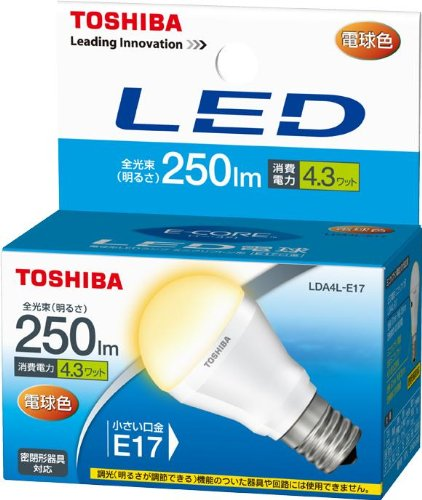 RoomClip商品情報 - 東芝 E-CORE(イー・コア) LED電球 ミニクリプトン形 4.3W (密閉器具対応・フィンレス構造・口金直径17mm・小形電球25W相当・250ルーメン・電球色) LDA4L-E17