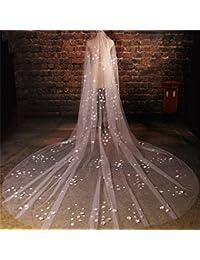 シュウクラブ- 韓国のベール美しいパールフラワースーパーセントビッグテールテール糸ロングブライドウェディングベー