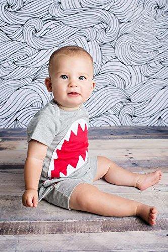 CANIS 子供 フカ サメ 夏服 半袖 ロンパース 灰色 男の子 女の子 (90)