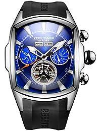Reef Tiger 男性運動腕時計 トゥールビヨン 自動巻き ウォッチ RGA3069 (RGA3069-YLB)