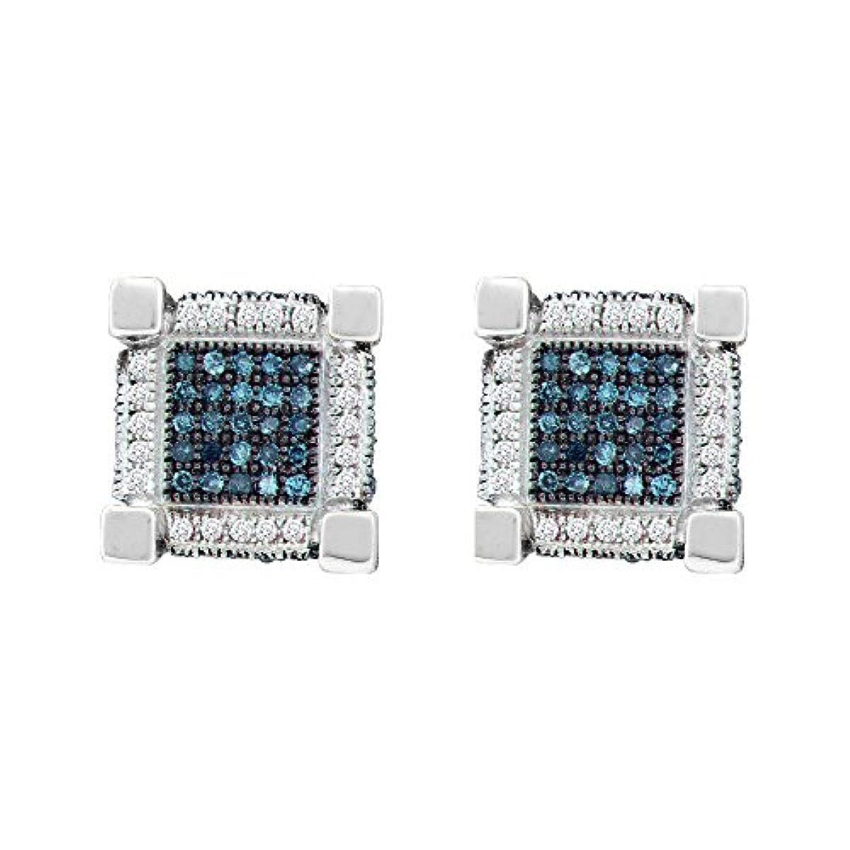 助けて責任温かいLCD メンズ 10カラットホワイトゴールドラウンドブルーの色はダイヤモンドの3Dキューブスクエアピアス3/4 Cttwを強化します