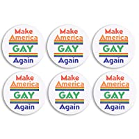 Prideピン–Gay Prideラペルピン、アメリカを再びGayアイアンボタン、LGBTピン、LGBTプライド、ホワイト 6 Pack ホワイト