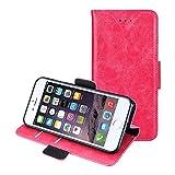 iPhone7ケース 手帳型 写真入れ 窓付き ICカード / case for iPhone 7 通用 カバー 本革レザー PU 財布型 スタンド機能 マグネット 手作り (ピンク) (pick)[並行輸入品]