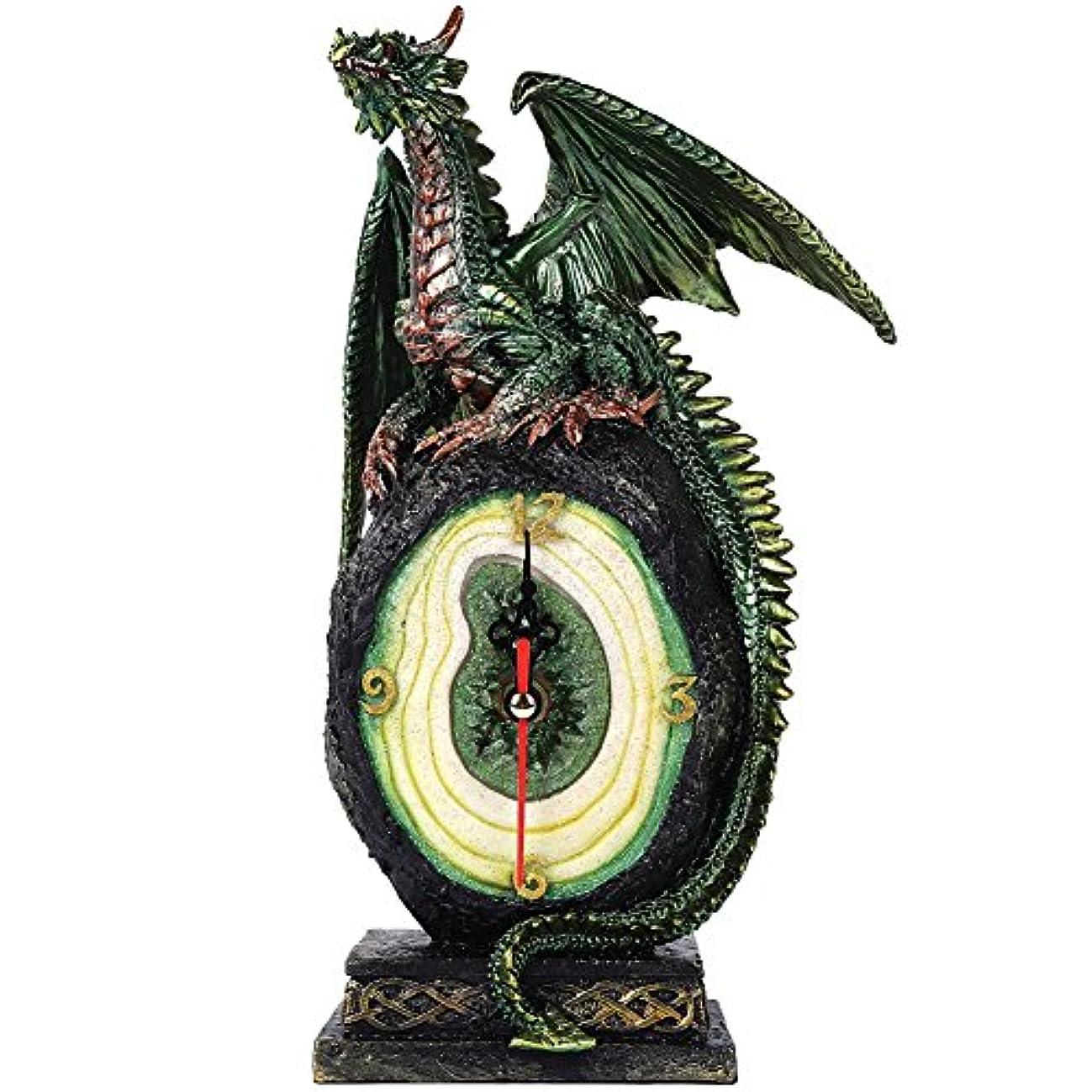 官僚請願者たまにグリーンドラゴンonマラカイト原石クォーツデスクトップクロックFantasy Collectible 10インチH