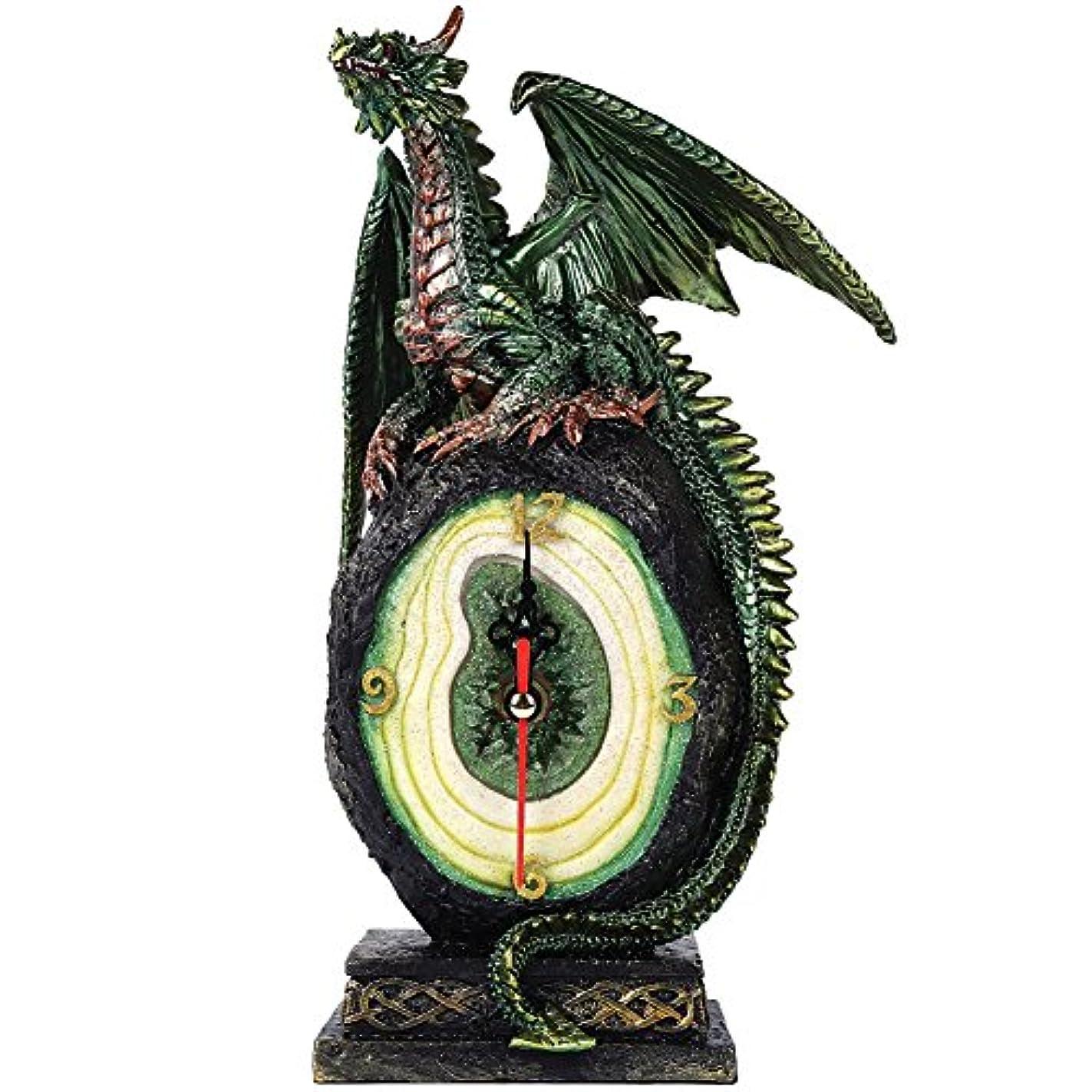 スキャンダル祭司ハッピーグリーンドラゴンonマラカイト原石クォーツデスクトップクロックFantasy Collectible 10インチH