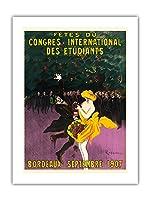 フェスティバル国際学生会議 - ボルドー、フランス - 1907年9月 - ビンテージな広告ポスター によって作成された リオネト・カピエロ c.1907 -プレミアム290gsmジークレーアートプリント - 46cm x 61cm