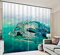 3Dマスクアートカーテン家の装飾プリント生地遮光ウィンドウドレープ、ワイド3.0x高2.7