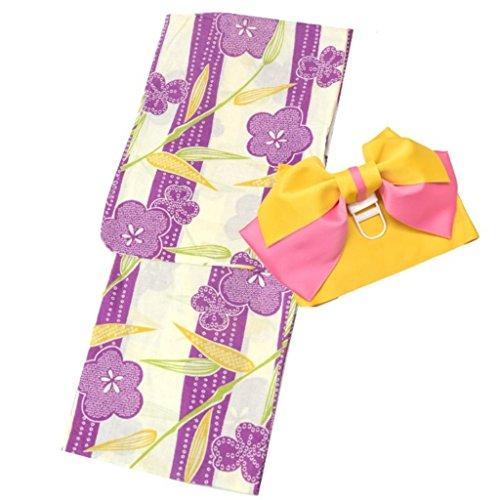 着物ひととき 浴衣 レディース セット 福袋 2点セット 女性 浴衣+作り帯 柄が選べる 大人浴衣 (紫縞の絞り風)