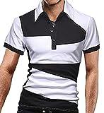 【 スマイズ スマイル 】 Smaids×Smile メンズ ポロシャツ 半袖 スリム ゴルフ ウェア バイカラー (ホワイト XL)