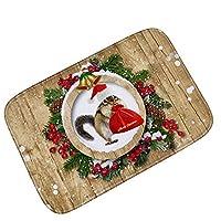ボコダダ(Vocodada)マット カーペット 滑り止めシート 滑り止め 肌触り 気持ちいい おしゃれ ズレ防止 2/5000 Sōngshǔ クリスマス 北欧 ボール 雪だるま 花輪 滑り止めカーペット リス プレゼント 可愛い 滑り止めマット カーペット 冬 40cm*60cm (E)