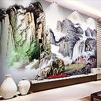 Bzbhart 新しい中国の大中国絵画テレビソファ壁カスタム大壁画緑の壁紙-450cmx300cm